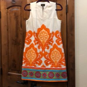 Cute short sleeve linen fully lined colorful dress